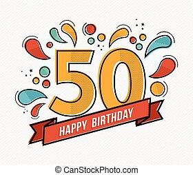 płaski, barwny, 50, liczba, urodziny, projektować, kreska, ...