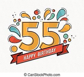 płaski, barwny, 55, liczba, urodziny, projektować, kreska, ...