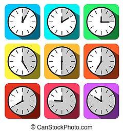 płaski, barwny, godzina, zegar, set., icons., twarz, wektor, projektować