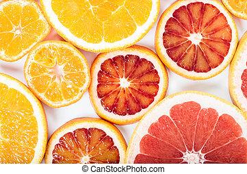 płaski, barwny, przestrzeń, cytrus, mandarynka, concept., pieśń, grapefruit., pomarańcza, tło., owoc, lato, jadło, wapno, prospekt, świeży, biały, kopia, górny, krew