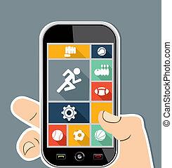 płaski, barwny, ruchomy, apps, icons., lekkoatletyka, ui, ludzka ręka