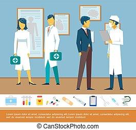 płaski, barwny, szablon, healthcare