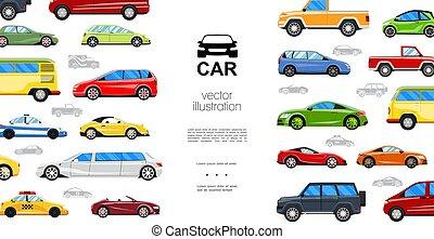 płaski, barwny, szablon, samochody