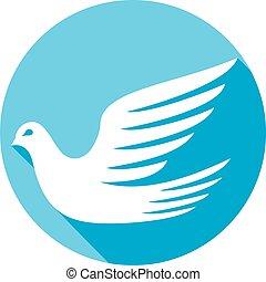 płaski, biała gołębica, ikona