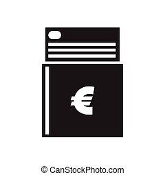 płaski, biały, czarnoskóry, checkbook, ikona