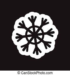 płaski, biały, czarnoskóry, płatek śniegu, ikona