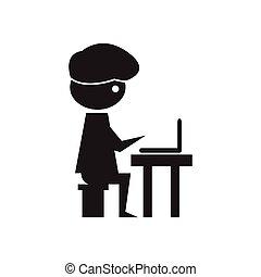 płaski, biały, czarnoskóry, programista, ikona