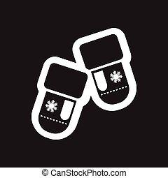 płaski, biały, czarnoskóry, rękawice, ikona
