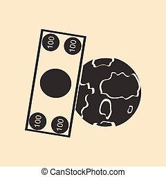płaski, biały, dolar, ziemia, czarnoskóry