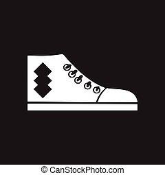 płaski, biały, ikona, czarnoskóry, gumshoes