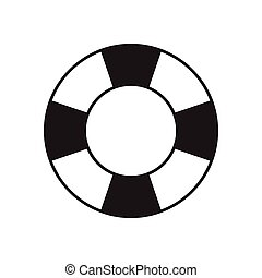 płaski, biały, ikona, czarnoskóry, lifebuoy