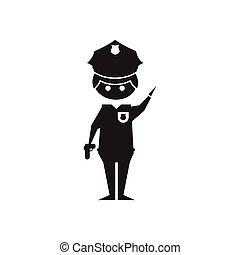 płaski, biały, ikona, czarnoskóry, policjant