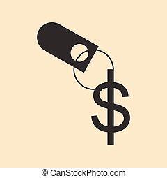 płaski, biały, keychain, dolar, czarnoskóry
