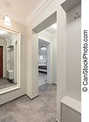 płaski, biały, nowoczesny, korytarz