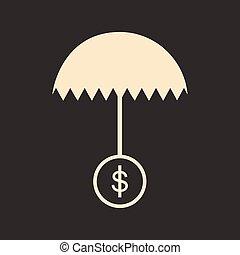 płaski, biały parasol, dolar, czarnoskóry