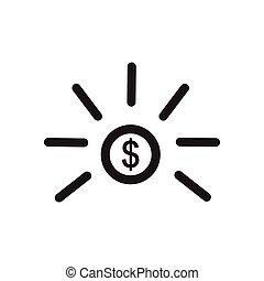 płaski, biały, pieniądz, czarnoskóry, ikona