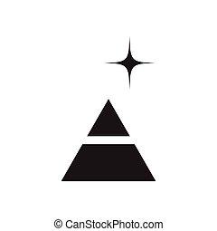 płaski, biały, piramida, czarnoskóry, ikona