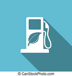 płaski, biofuel, bio, znak, opał, ikona