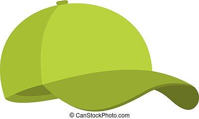płaski biret, baseball, ikona, zielony, style.