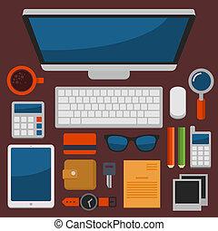 płaski, biuro, górny, wektor, projektować, miejsce pracy,...