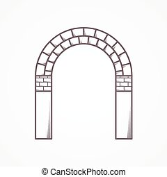 płaski, brama, wektor, kreska, cegła, ikona