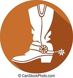 płaski, bucik kowboja, ikona
