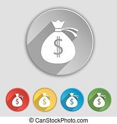 płaski, buttons., pieniądze, poznaczcie., torba, wektor, piątka, symbol, ikona