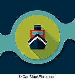 płaski, cień, łódka, długi, ikona