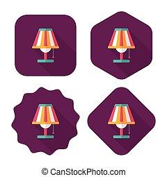 płaski, cień, długi, lampa, stół, ikona