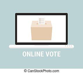 płaski, concept., głosowanie, styl, online