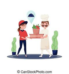 płaski, courier., pracujący, jadło, mistrz kucharski, młody, doręczenie, gotowy, wektor, projektować, kok, dziewczyna, daje, klasa, uniform., service.