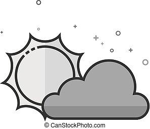płaski, częściowo, -, grayscale, pochmurny, prognoza, ikona
