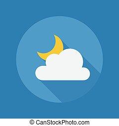 płaski, częściowo pochmurny, pogoda, noc, icon.