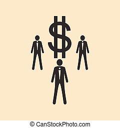 płaski, czarnoskóry, dolar, biały, ludzie