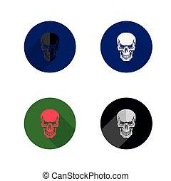 płaski, czaszka, ikony, tło, biały, icon.collection, okrągły, styl