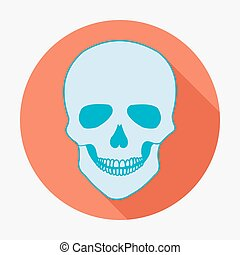 płaski, czaszka, ilustracja, jednorazowy, wektor, długi, shadow., ikona