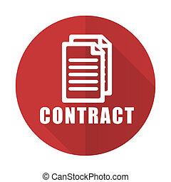 płaski, czerwony, kontrakt, ikona