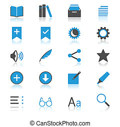 płaski, czytelnik, e-książka, odbicie, ikony