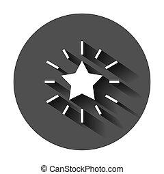płaski, długi, gwiazda, handlowy, style., concept., nagroda, okrągły, wektor, doskonałość, ilustracja, tło, czarnoskóry, medal, shadow., wstążka, ikona