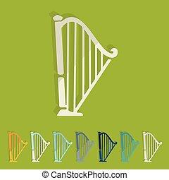 płaski, design:, harfa
