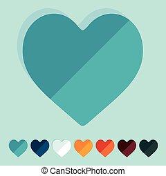 płaski, design:, serce
