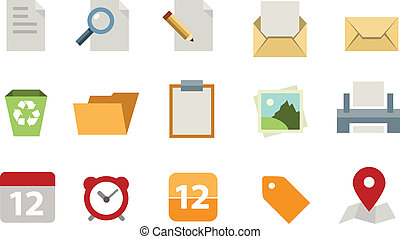 płaski, dokument, komplet, ikona