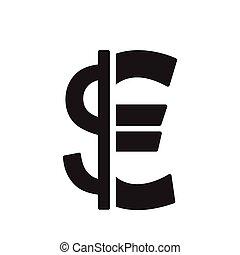 płaski, dolar, czarnoskóry, biały, ikona, euro