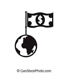 płaski, dolar, czarnoskóry, ziemia, biały, ikona