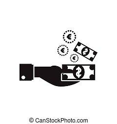 płaski, dolar, ręka, czarnoskóry, biały, ikona
