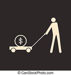 płaski, dolar, wóz, czarnoskóry, biały, człowiek