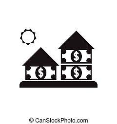 płaski, dom, czarnoskóry, pieniądze, biały, ikona