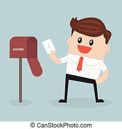 płaski, dostay, wektor, los, poczta, biznesmen, skrzynka pocztowa, projektować, czerwony