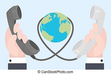 płaski, drut, stary, głoski, komunikacja, dwa, ilustracja, connections., siła robocza, odległość.