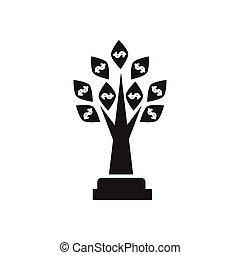 płaski, drzewo pieniędzy, czarnoskóry, biały, ikona